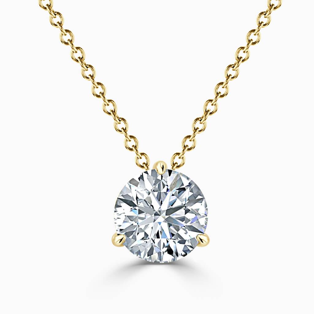 18ct Yellow Gold Round Brilliant 3 Claw Diamond Pendant