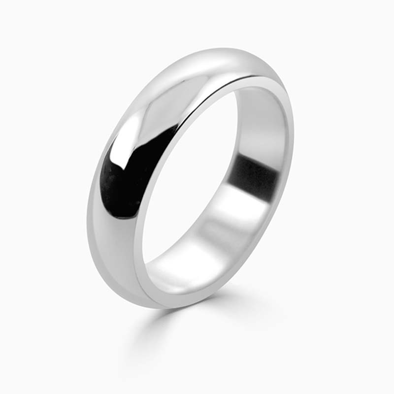 Platinum 5mm D Shape Heavy Weight Wedding Ring