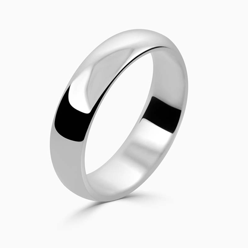 Platinum 5mm D Shape Medium Weight Wedding Ring