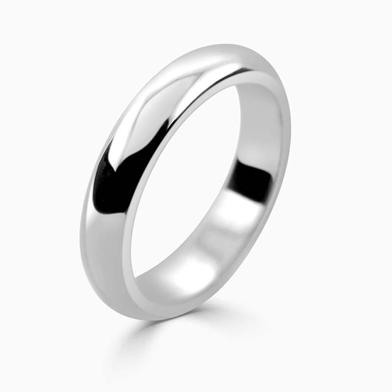 Platinum 4mm D Shape Heavy Weight Wedding Ring