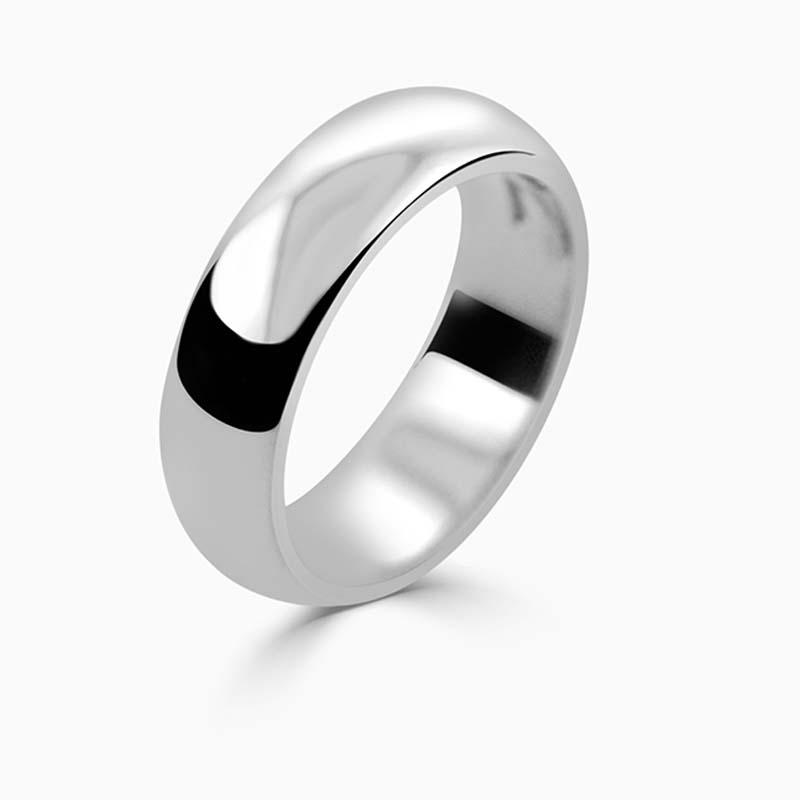 Platinum 6mm D Shape Heavy Weight Wedding Ring