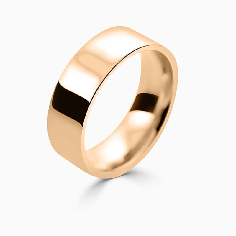 18ct Rose Gold 7mm Flat Court Flat Edge Medium Weight Wedding Ring