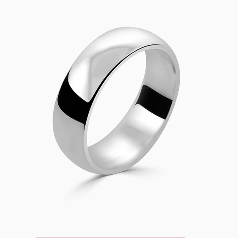 Platinum 6mm D Shape Medium Weight Wedding Ring