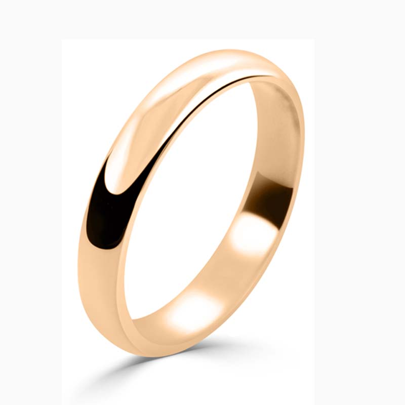 18ct Rose Gold 3mm D Shape Light Weight Wedding Ring