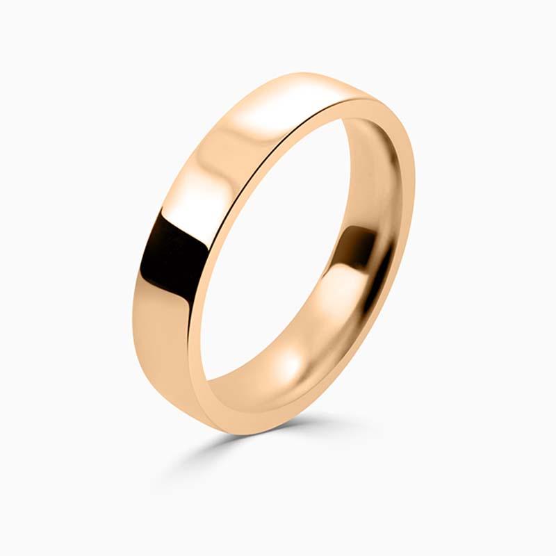 18ct Rose Gold 4mm Flat Court Flat Edge Medium Weight Wedding Ring