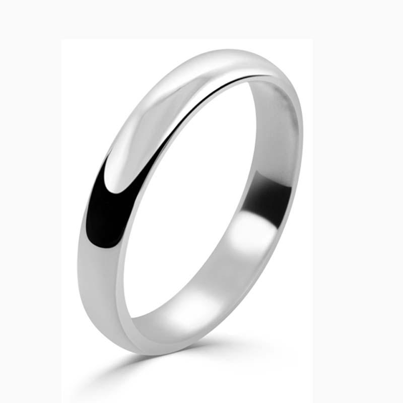 Platinum 3mm D Shape Light Weight Wedding Ring