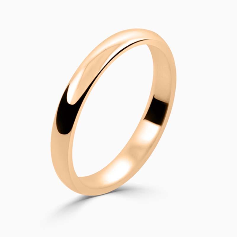 18ct Rose Gold 2.5mm D Shape Light Weight Wedding Ring