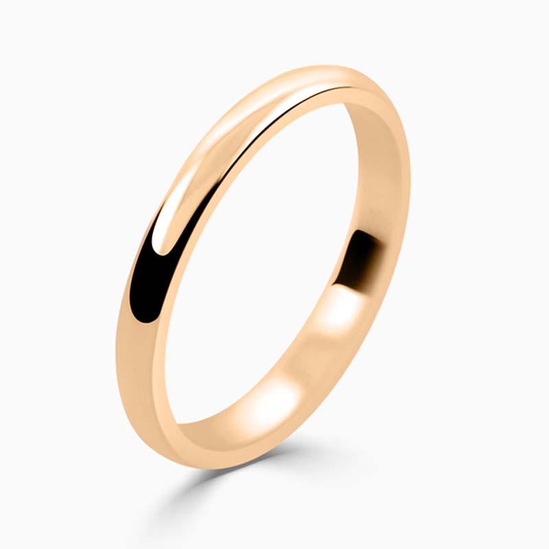 18ct Rose Gold 2mm D Shape Light Weight Wedding Ring