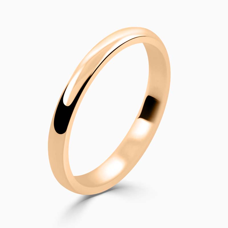 18ct Rose Gold 2mm D Shape Light Weight Wedding Ring