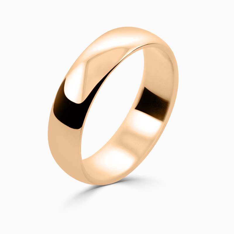 18ct Rose Gold 5mm D Shape Light Weight Wedding Ring