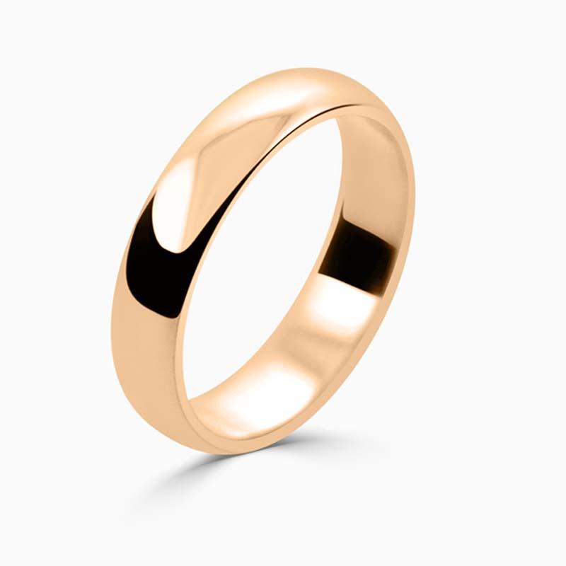 18ct Rose Gold 4mm D Shape Light Weight Wedding Ring