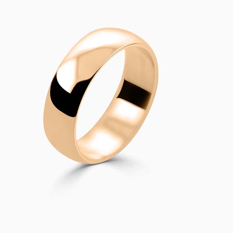 18ct Rose Gold 6mm D Shape Light Weight Wedding Ring