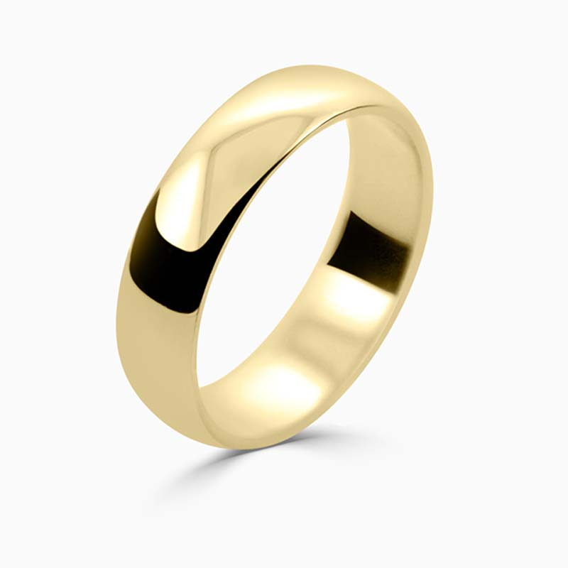 18ct Yellow Gold 5mm D Shape Light Weight Wedding Ring