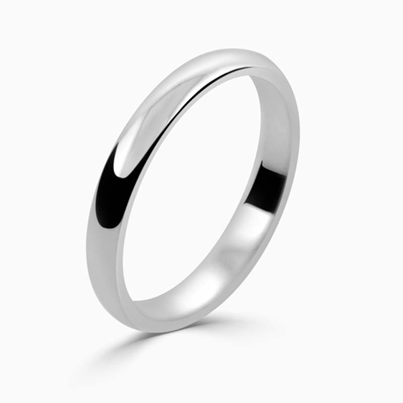 Palladium 2.5mm D Shape Light Weight Wedding Ring