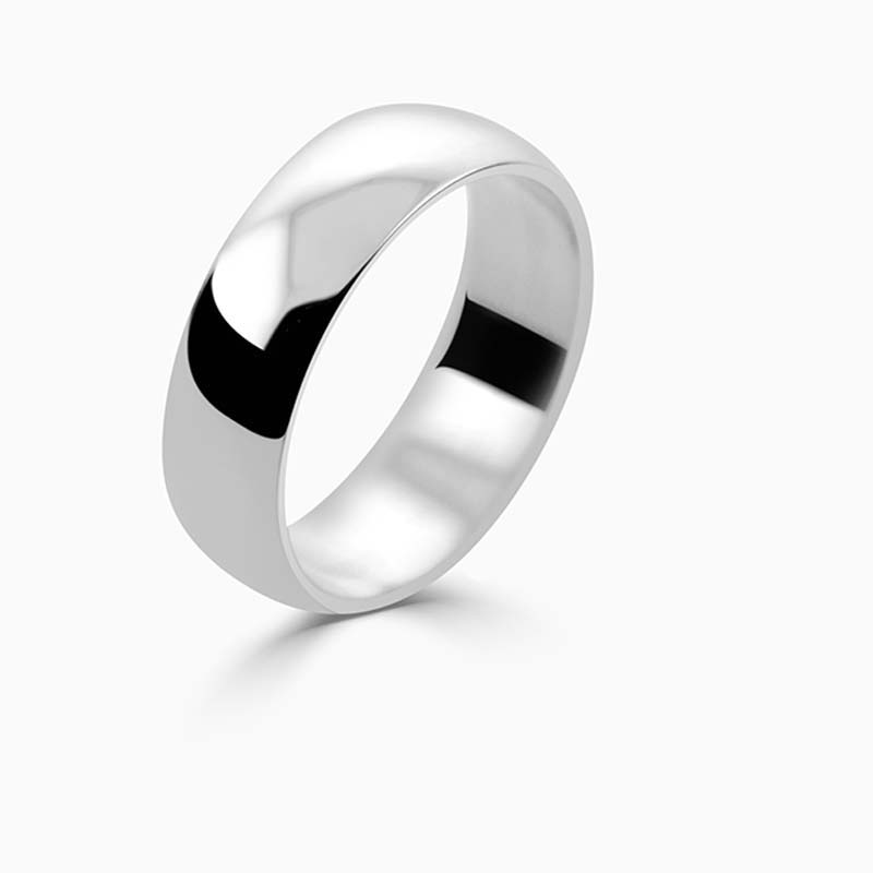 Palladium 6mm D Shape Light Weight Wedding Ring