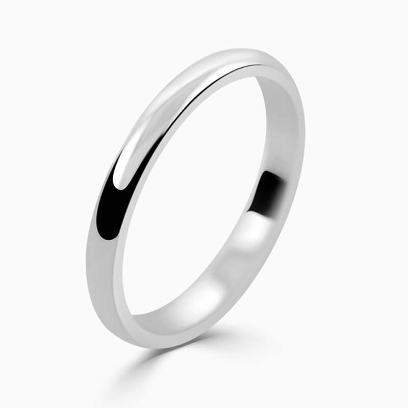 Platinum 2mm D Shape Light Weight Wedding Ring
