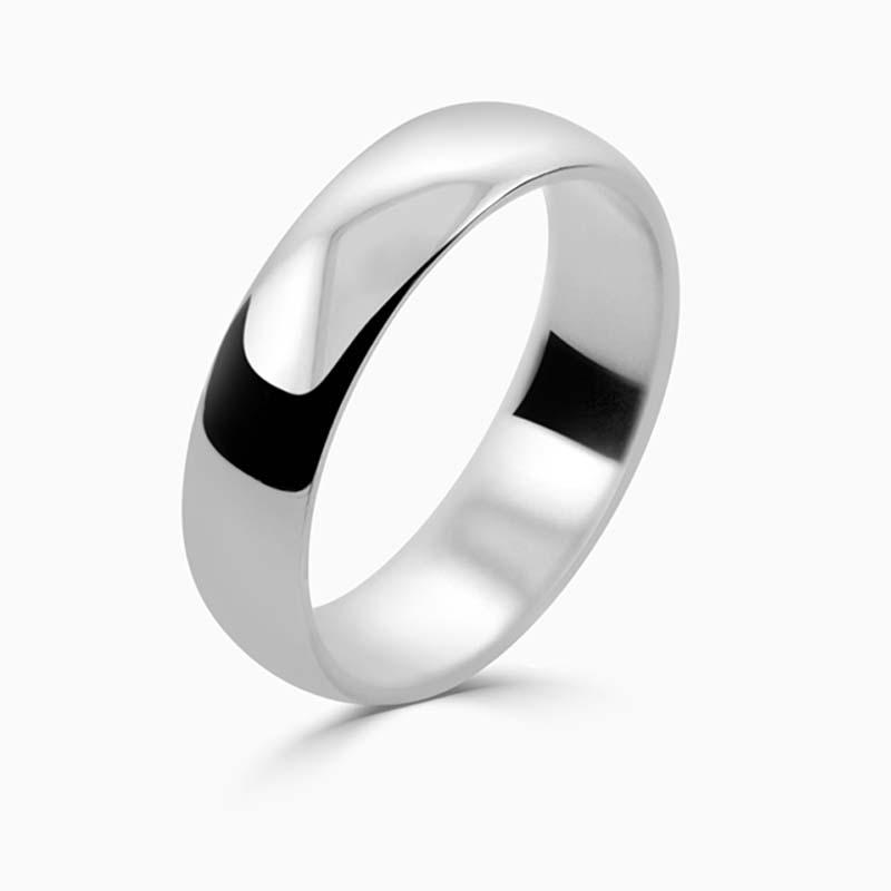 Platinum 5mm D Shape Light Weight Wedding Ring