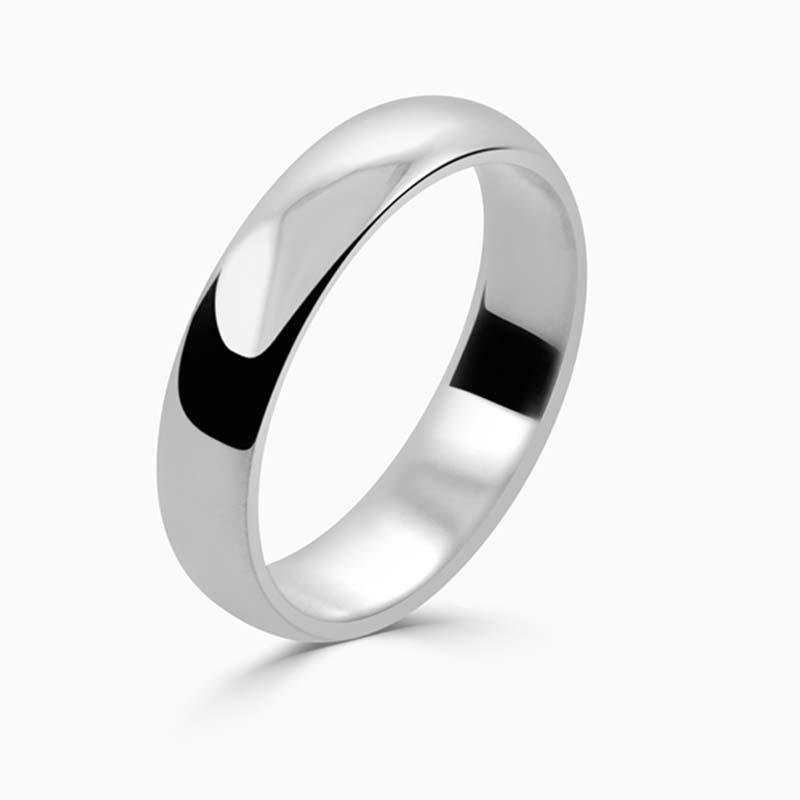 Platinum 4mm D Shape Light Weight Wedding Ring