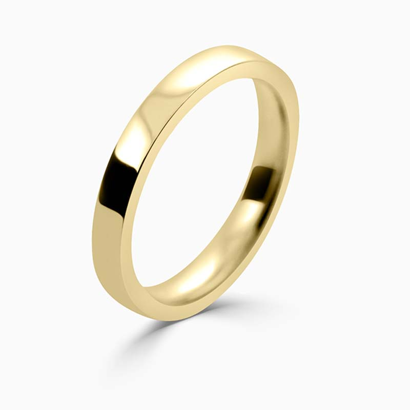 18ct Yellow Gold 2.5mm Flat Court Flat Edge Medium Weight Wedding Ring