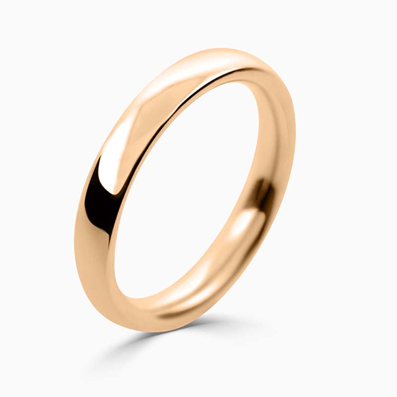 18ct Rose Gold 3mm Court Shaped Heavy Weight Wedding Ring