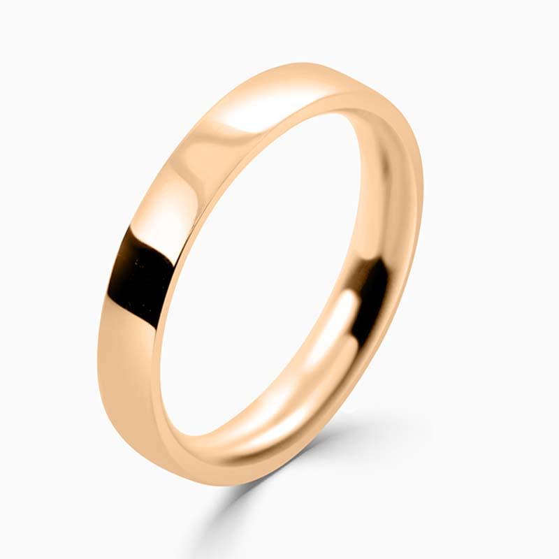 18ct Rose Gold 3mm Flat Court Medium Weight Wedding Ring