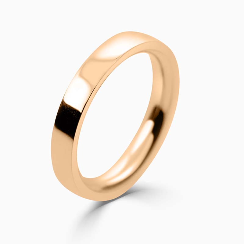 18ct Rose Gold 3mm Flat Court Heavy Weight Wedding Ring