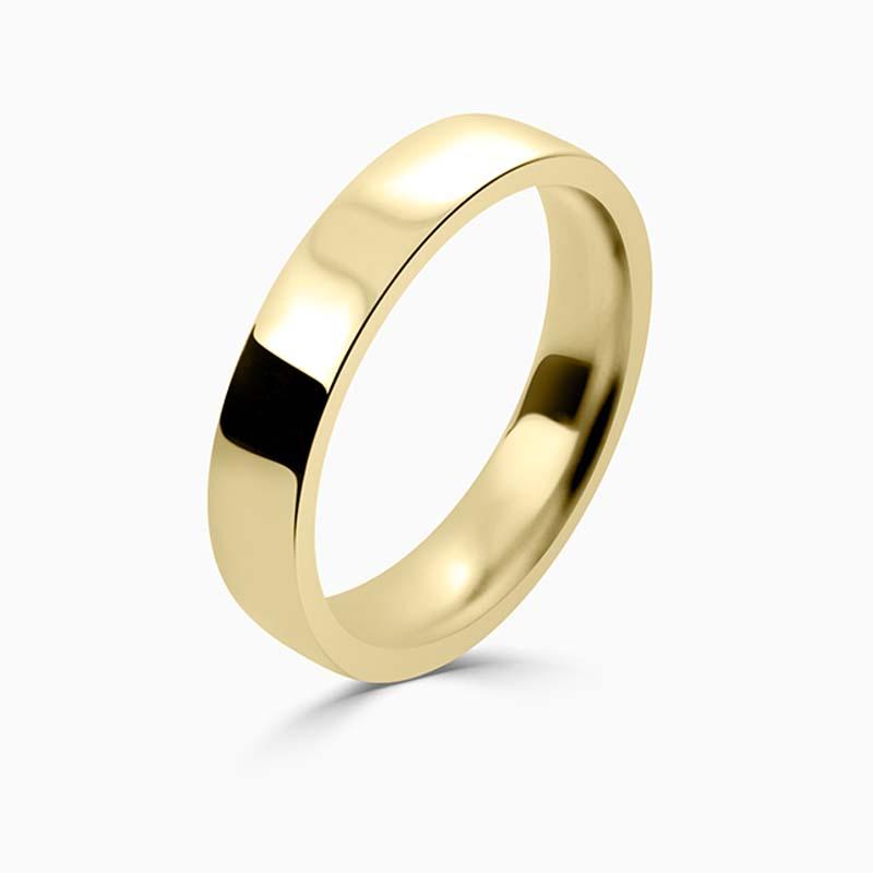 18ct Yellow Gold 4mm Flat Court Flat Edge Medium Weight Wedding Ring