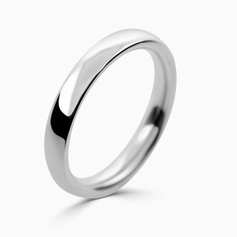 Platinum 3mm Court Shaped Heavy Weight Wedding Ring
