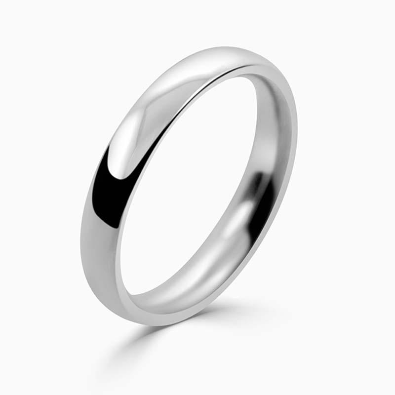 Platinum 3mm Court Shaped Medium Weight Wedding Ring