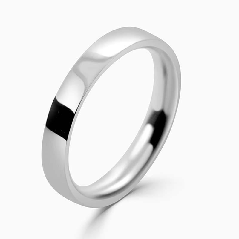 Platinum 3mm Flat Court Medium Weight Wedding Ring