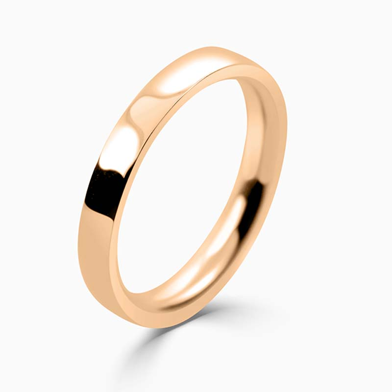 18ct Rose Gold 2.5mm Flat Court Medium Weight Wedding Ring