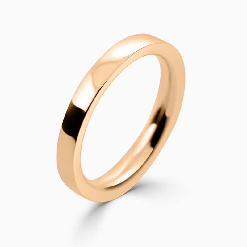 18ct Rose Gold 2.5mm Flat Court Heavy Weight Wedding Ring