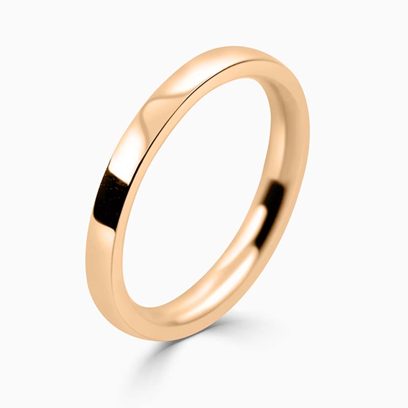 18ct Rose Gold 2mm Flat Court Medium Weight Wedding Ring
