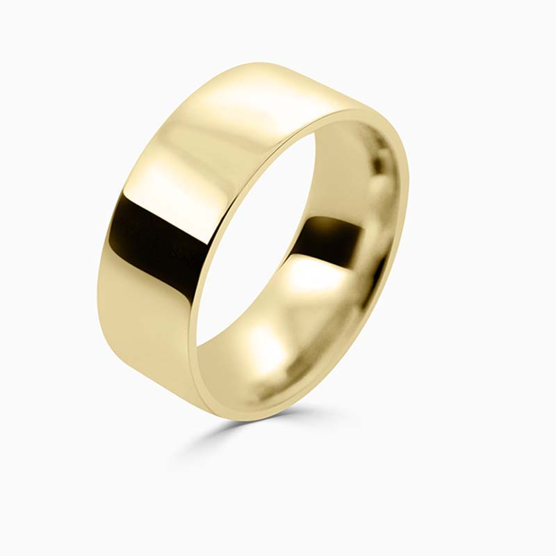 18ct Yellow Gold 8mm Flat Court Flat Edge Medium Weight Wedding Ring