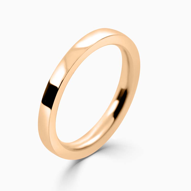 18ct Rose Gold 2mm Flat Court Heavy Weight Wedding Ring