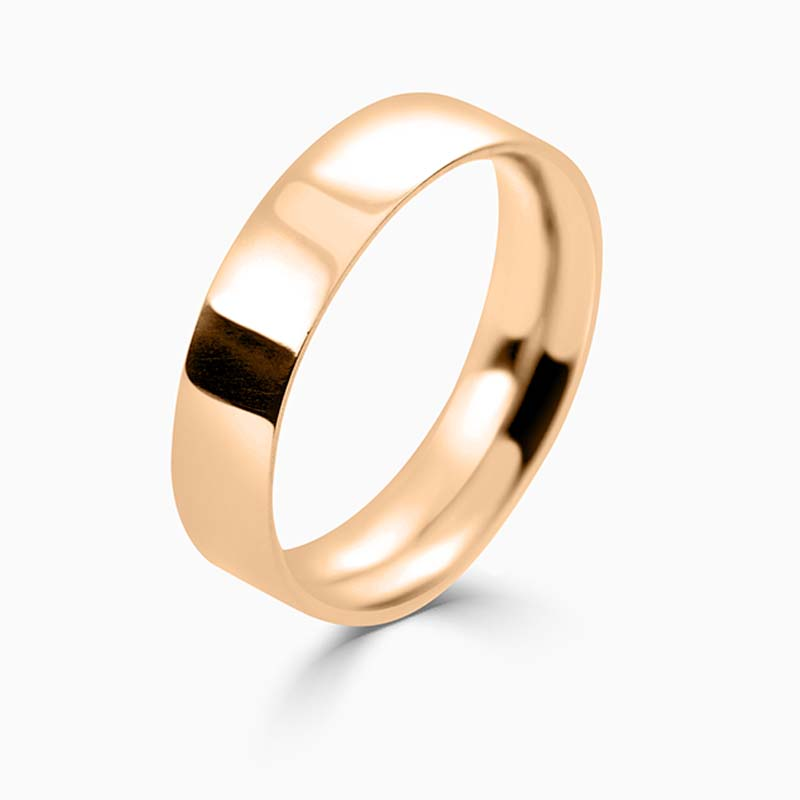 18ct Rose Gold 5mm Flat Court Medium Weight Wedding Ring