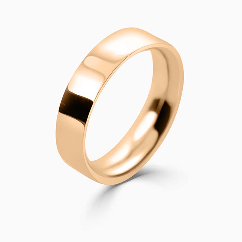 18ct Rose Gold 5mm Flat Court Heavy Weight Wedding Ring