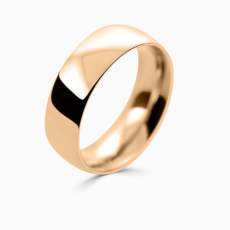 18ct Rose Gold 7mm Court Shaped Heavy Weight Wedding Ring