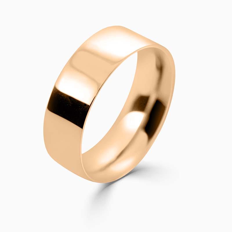 18ct Rose Gold 7mm Flat Court Medium Weight Wedding Ring