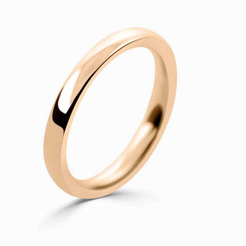 18ct Rose Gold 2.5mm Court Shaped Heavy Weight Wedding Ring
