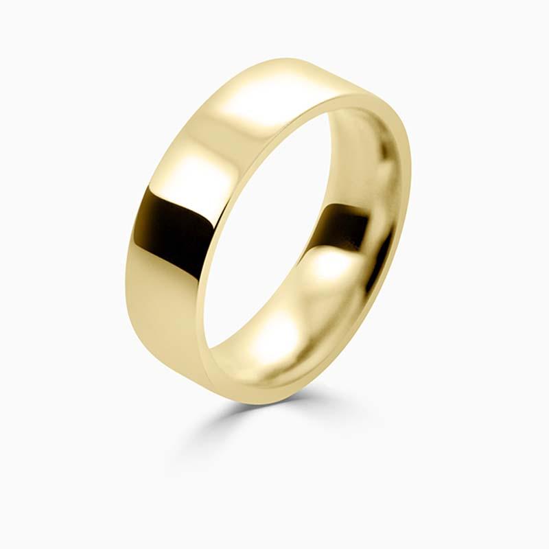18ct Yellow Gold 6mm Flat Court Flat Edge Medium Weight Wedding Ring