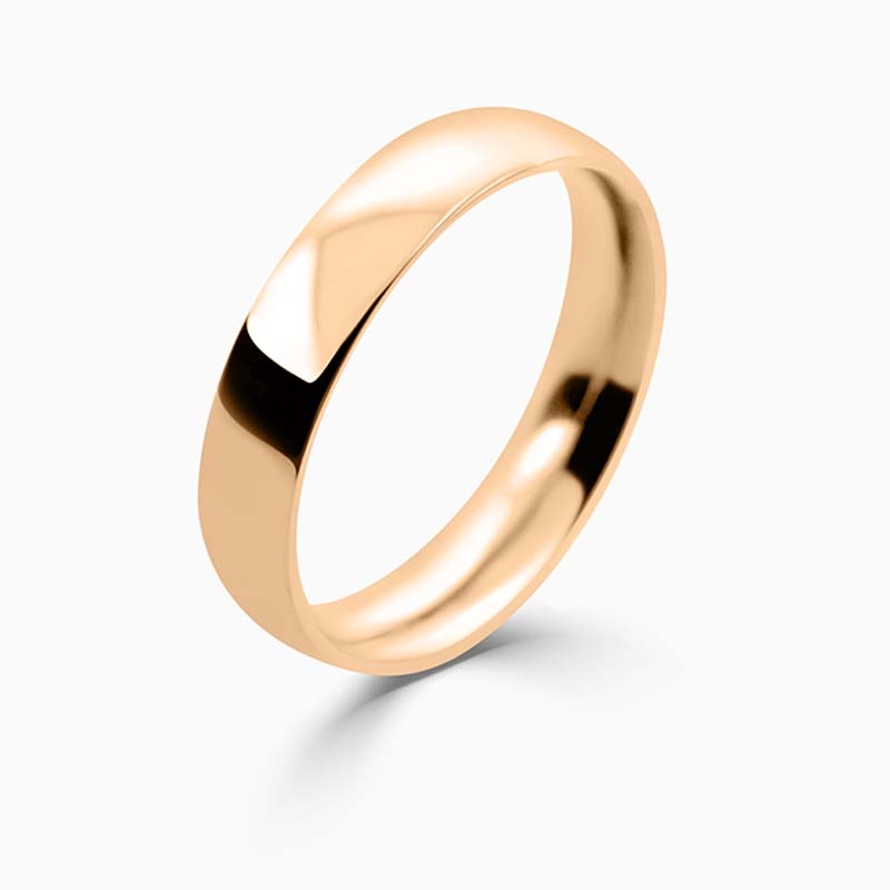 18ct Rose Gold 4mm Court Shaped Medium Weight Wedding Ring
