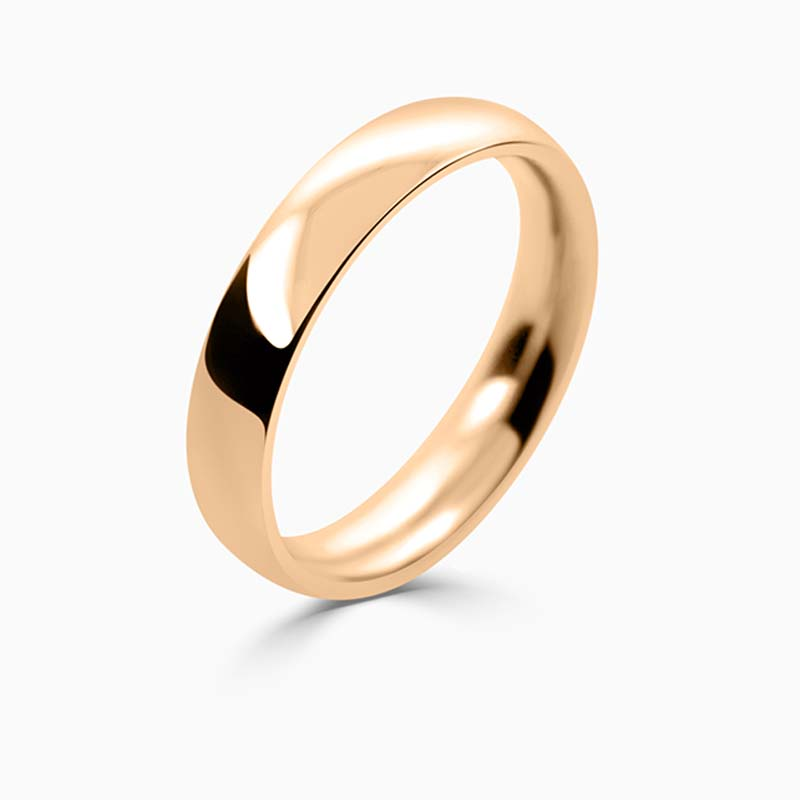 18ct Rose Gold 4mm Court Shaped Heavy Weight Wedding Ring