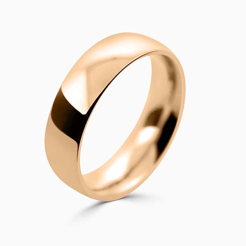 18ct Rose Gold 6mm Court Shaped Heavy Weight Wedding Ring
