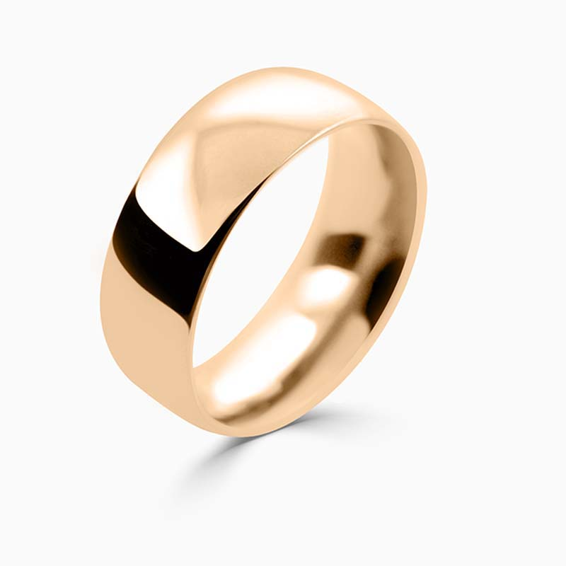 18ct Rose Gold 8mm Court Shaped Heavy Weight Wedding Ring