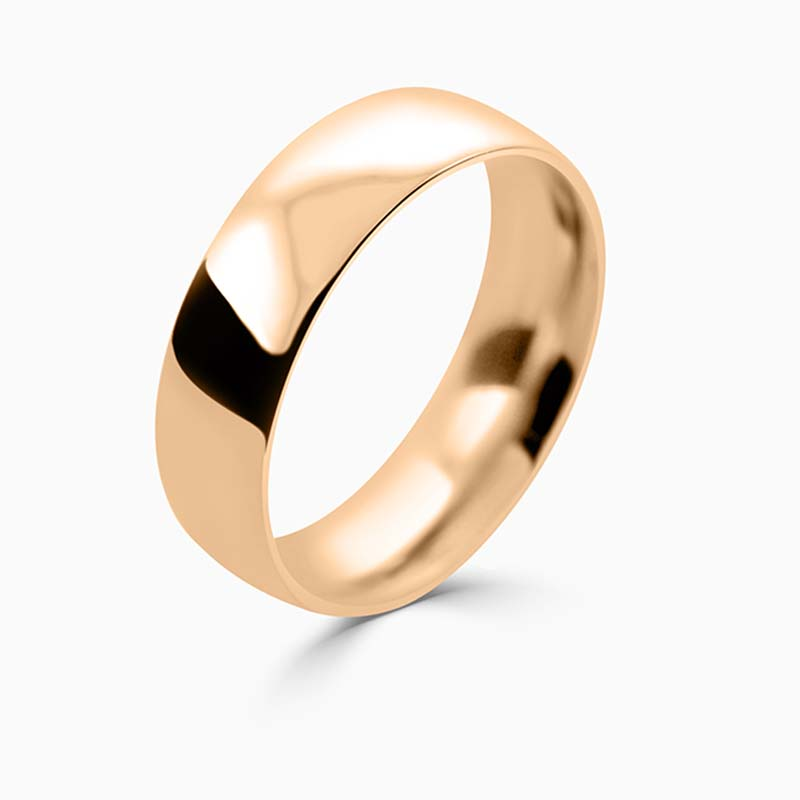 18ct Rose Gold 6mm Court Shaped Medium Weight Wedding Ring