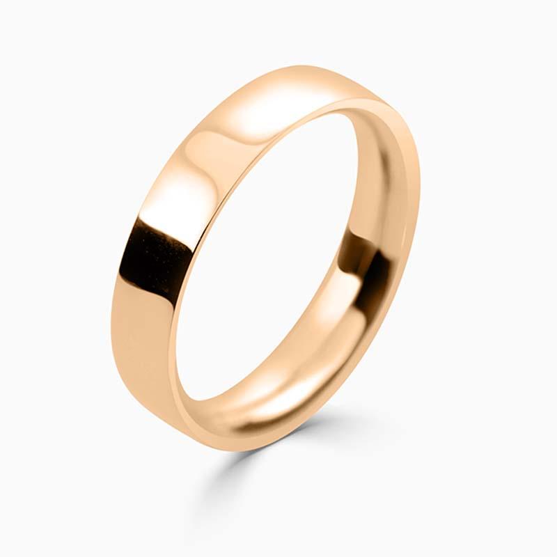 18ct Rose Gold 4mm Flat Court Medium Weight Wedding Ring