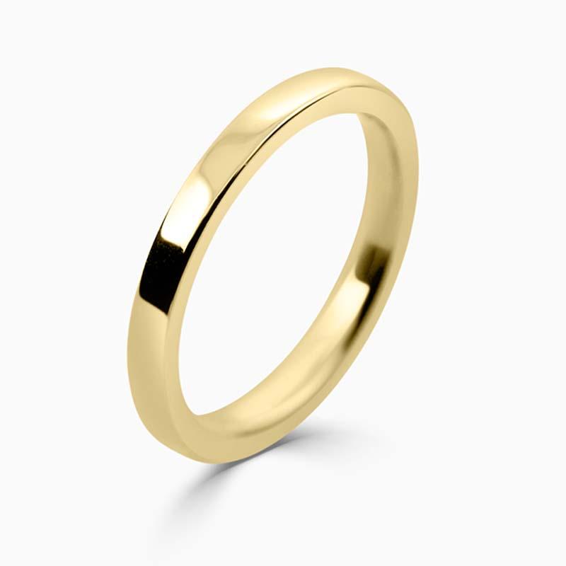 18ct Yellow Gold 2mm Flat Court Flat Edge Medium Weight Wedding Ring