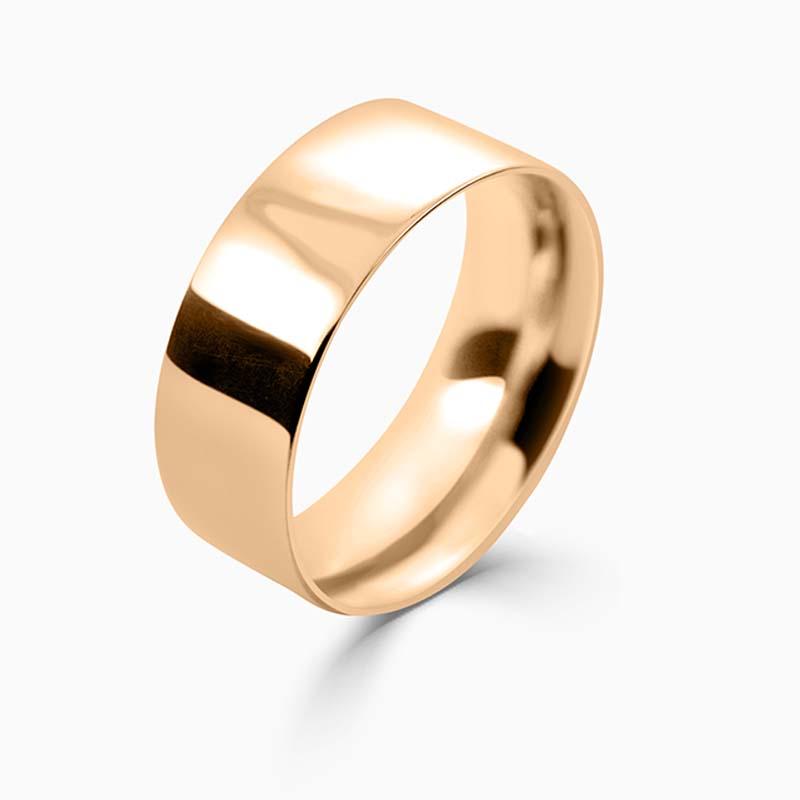 18ct Rose Gold 8mm Flat Court Medium Weight Wedding Ring