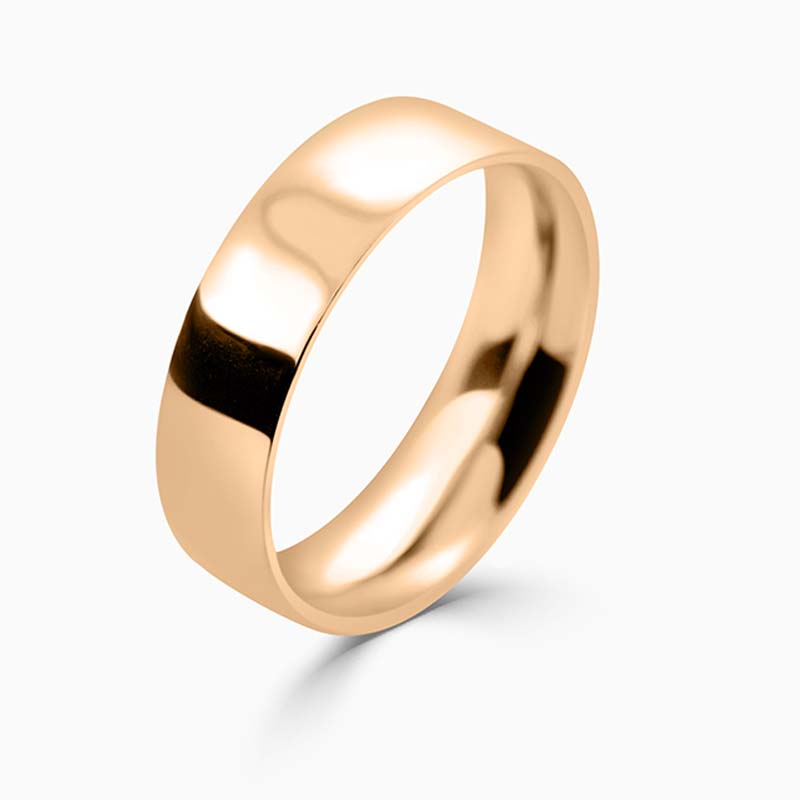 18ct Rose Gold 6mm Flat Court Medium Weight Wedding Ring